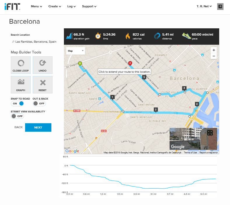 Create a map based workout Barcelona