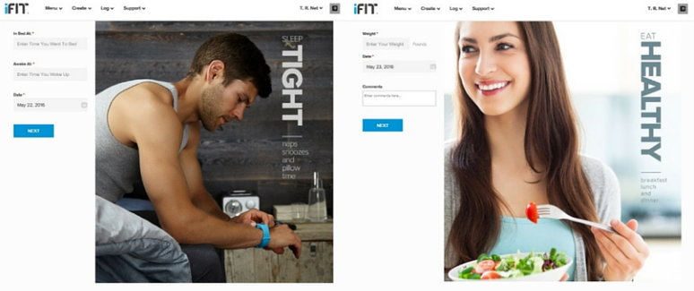 iFit logging sleep and weight