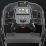 Console screen of the Horizon 7.4 treadmill. The treadmill features a fan, several buttons, 2 cup holders, a speaker and a tablet holder