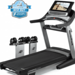 Noridctrack 2950 treadmill with a best buy badge in the top left corner