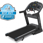 Horizon 7.8 AT treadmill with a best buy badge in the top left corner
