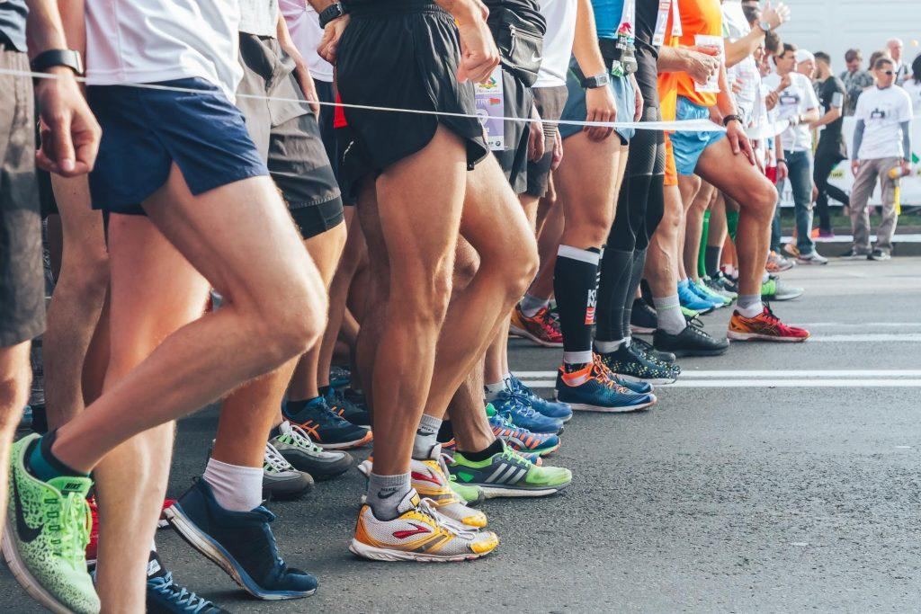 legs of a group of runners