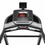 Console of the ProForm Smart Performance 600i Treadmill. This features a digital screen of a man conducting a workout, 2 speakers, 2 cup holders, a fan, a tablet holder and several buttons