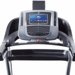 Console of the Nordictrack C 1650 Treadmill with an image of the home screen. The treadmill includes 2 cup holders, a tablet holder, a fan, a speaker and several buttons