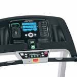 Console of the Life Fitness F1 Smart Treadmill. This features 2 cup holders, iPod/iPhone holder and several buttons
