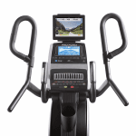 Console of the ProForm HIIT Trainer Elliptical. This elliptical features a tablet holder, a digital screen, a fan, a speaker and several buttons