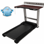 A side view angle of the Life Fitness Treadmill Desk with a best buy badge in the top left corner