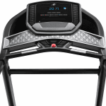 Console screen of the Nordictrack C590 Pro treadmill with a digital timer being displayed. The treadmill features 2 cup holders, several buttons and a speaker
