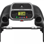Console of the Horizon Adventure 3 Treadmill. This features 2 cup holders, a speaker and several buttons