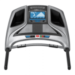 Console of the Horizon Treadmill. This features a digital screen, 2 speakers, 2 cup holders and several buttons