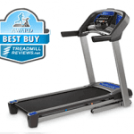 A side view angle of the Horizon T101 Treadmill