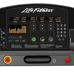 Console of the Life Fitness Integrity Treadmill. This features 2 cup holders, a cell phone holder and several buttons