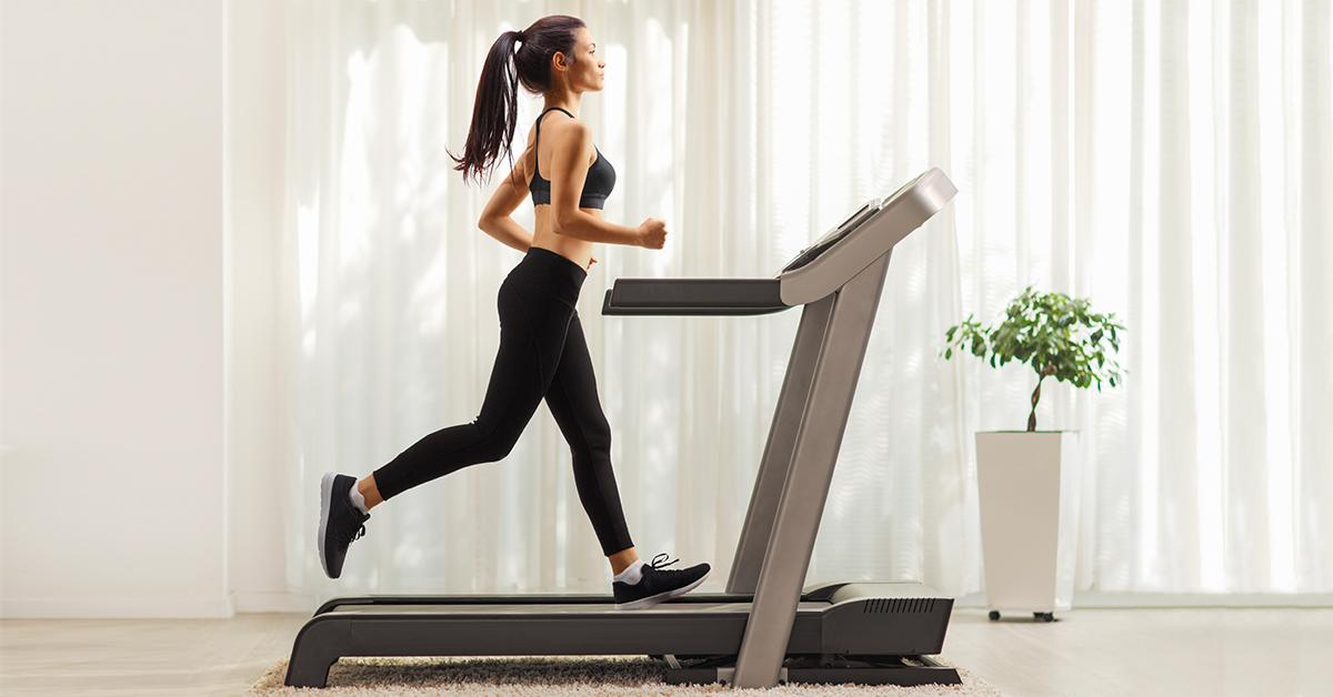 woman on treadmill in home